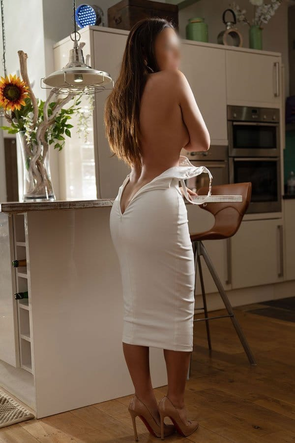 White dress in the kitchen